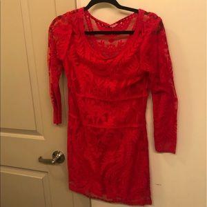Express Red Lace Dress XS